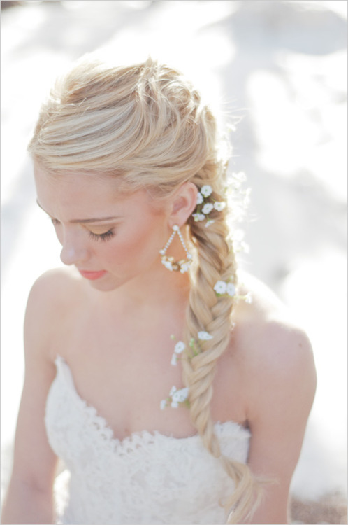 Flowers in brides braid
