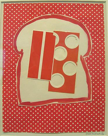 Joe Brainard, Untitled (Toast), 1976. cut paper, paint. 7 5/8 x 6 inches.