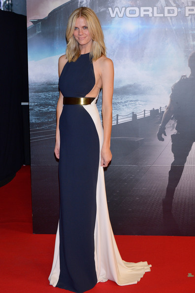 Actress Brooklyn Decker stepped out for the red carpet premiere of Battleship in Tokyo wearing this sleek, navy and white, Stella McCartney, belted column gown featuring cut-outs at the waist.