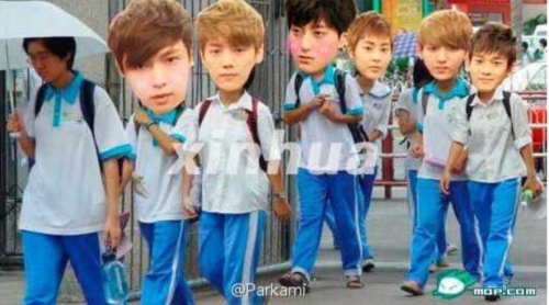 Exo-m go to school~~ Cr:微博@Parkami