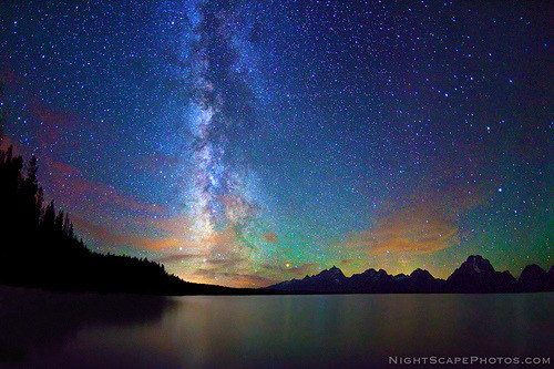 ravecat:  Stars, Milky Way, Jackson Lake, Grand Teton NP (by IronRodArt - Royce Bair (Busy))