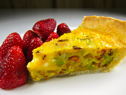 Brussels sprout and bacon quiche with strawberries.