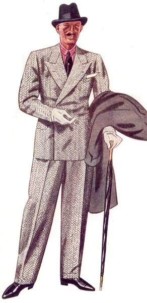 VintageInspiration pale grey/oatmeal herringbone DB suit