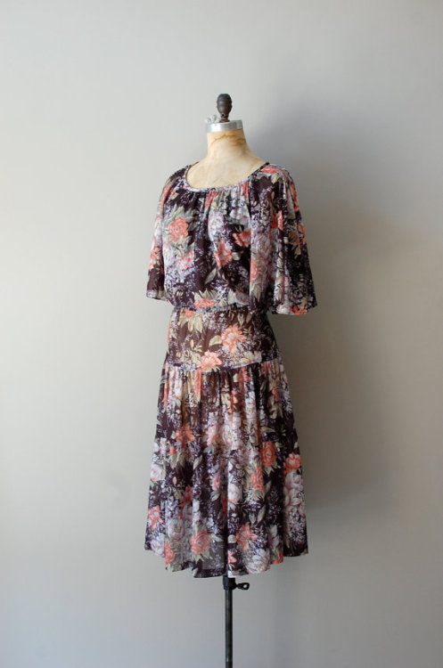 Floral chiffon 1970's dress via Dear Golden on Etsy.