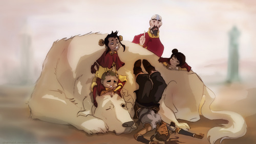 sketchbender:  Korra and the Airbenders by chakhabit