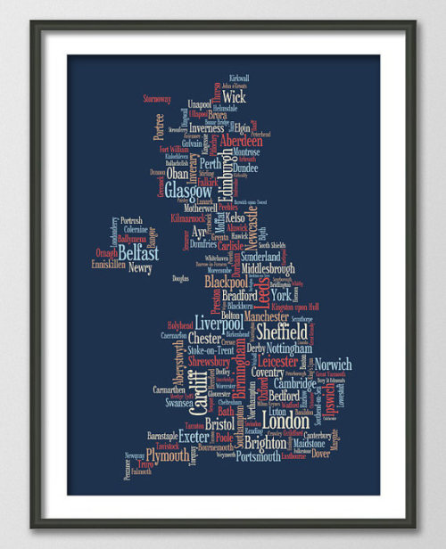 Great Britain UK City Typography Map on Etsy