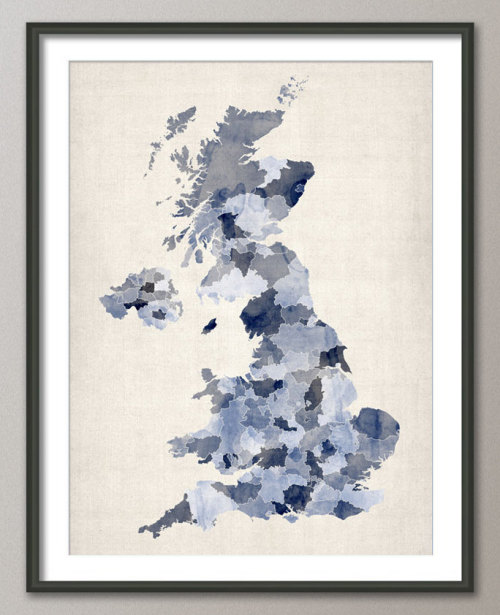 Great Britain UK Watercolor Map on Etsy