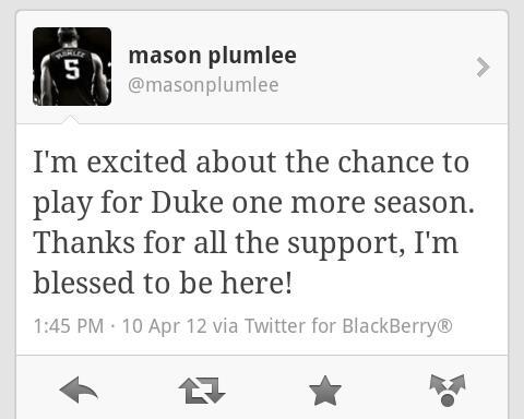 It's official! Mason is staying for his senior year!   - dukebasketballnews