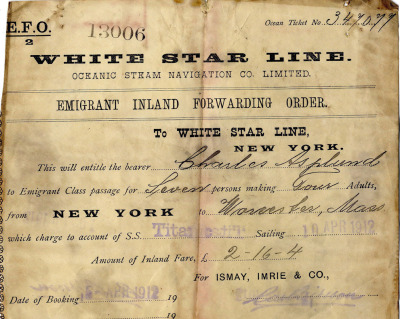 Titanic, Third Class (Emigrant) Ticket One hundred years ago today the Titanic left Southampton England en route to France and then Ireland to pick up additional passengers for its maiden voyage. Four days later it hit an iceberg 375 miles south of Newfoundland. If you were a third class passenger, your chance of survival was 25 percent.  First class passengers had a 62 percent survival rate. Second class passengers had a 41 percent survival rate. The crew had a 24 percent survival rate. Image: An Emigrant — or third class — ticket for Lillian Asplund. Via Boston.com.