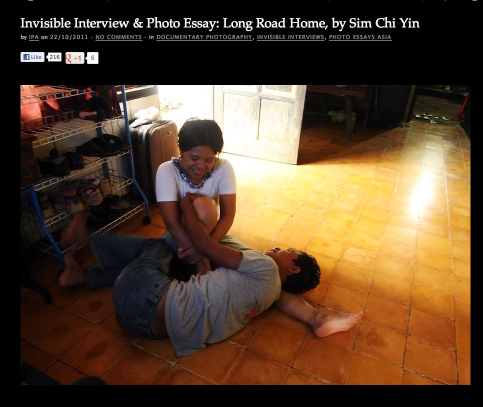 Sim Chi Yin, 2010 HR Fellow, featured on Invisible Photographer The Long Road Home, a photo essay about migrant domestic workers from Indonesia. Read full interview with Chi Yin, here.