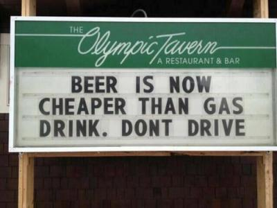gas prieces higher than beer!