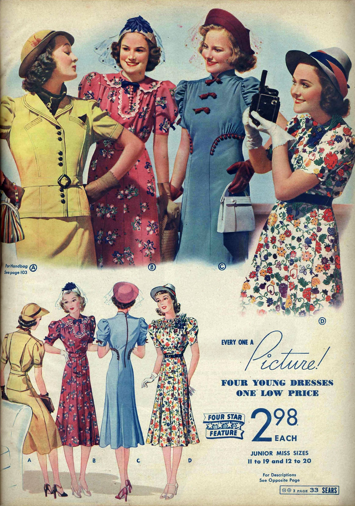 A page from the Sears Roebuck & Co. catalog, Spring/Summer 1938.