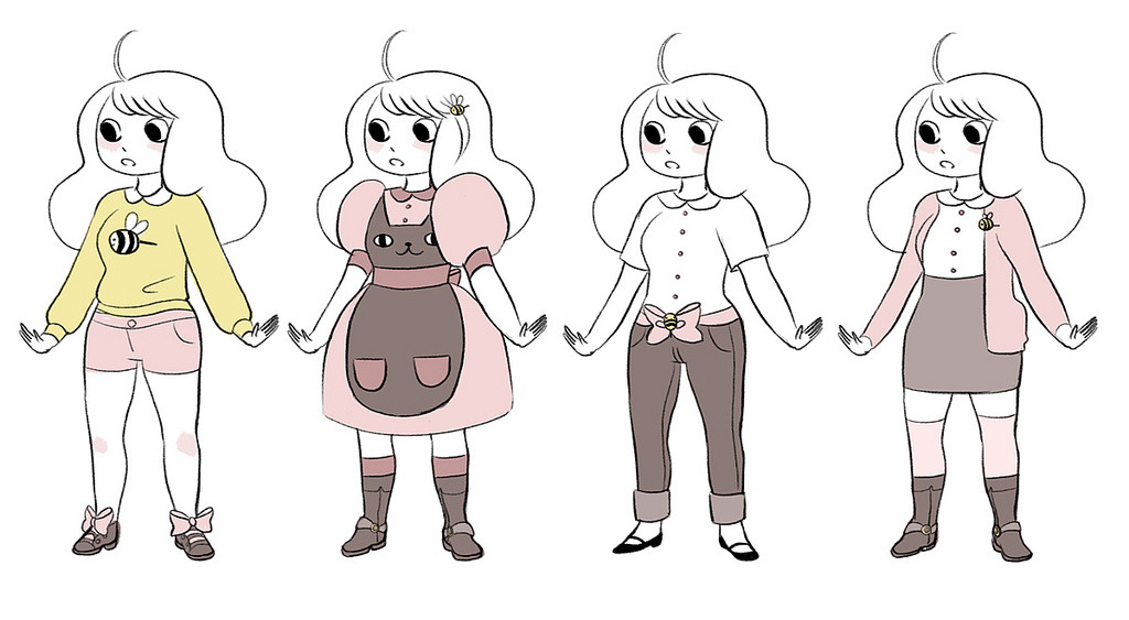 "Bee Outfits Natasha's gone ahead and designed a couple of different looks for Bee for her ""PuppyCat"" cartoon. Which one do you like the best?"