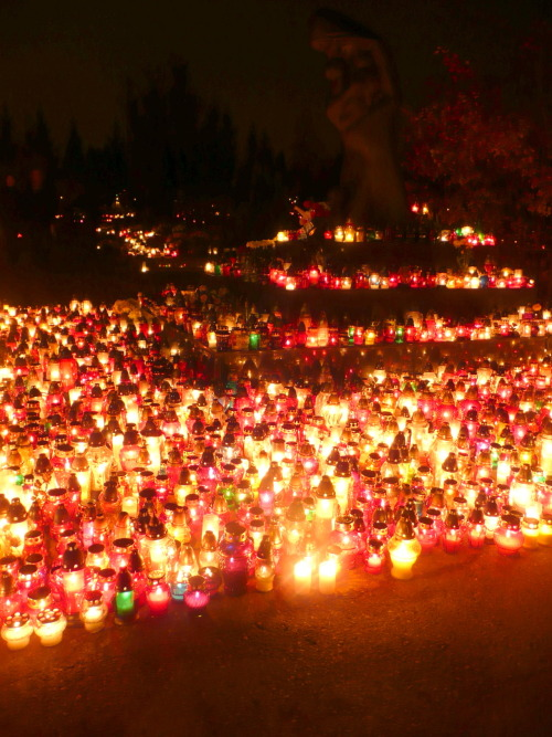 All Saints' Day / Wszystkich Świętych  To begin my posts, I will try to list the events that are happening around here. I have been many times visiting the cementery in my country, in order to bring flowers to the loved ones who left, now that I live in Poland I still follow this tradition with my local family.  At this point of the year there is not more important day in Poland to visit the cementery than November 1st, All Saints' Day / Wszystkich Świętych (catholic holiday). In general it supposed to be a sad day, you know walking in the cementery shouldn't be nice at all, but I can see that in here it takes some special feeling, whole families meet up and bring tons of flowers to their loved ones, kids running every where, people actually socializing, sitting down and speaking around graves, the more people arrive more colorful it gets, due to the amazing quantity of flowers and candles that decorate the graves. When the night arrives (very early in Autumn), you can actually enjoy a totally new experience, walking around the cementery; the same is nicely iluminated by thousands of red, green, yellow and white candles, thanks to the glass container where these candles are hold, it makes a really nice brightness effect, I guarantee you the first time I could see that from the train cabin, I didn't really understand why it was so beautiful, of course you don't realize where you are passing by when travelling by train, but after few questions my query was totally answered.