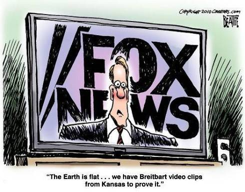 "image: bartcop.com … Why are Fox ""News"" viewers so misinformed? Is it them, or is it Fox? So you're a misinformed Fox ""News"" viewer — but why are you so misinformed? Turns out, it's a little bit you (because you're attracted to a source like Fox in the first place) and it's a little bit of Fox itself — a political operation which pretends to be a news channel, purposely misleading it's base viewers, telling you what you want to hear but not necessarily what you should know. In other words, you're in your own little world of paranoia and incorrect beliefs because you like that world.   The Science of Fox News: Why Its Viewers are the Most Misinformed – Authoritarian people have a stronger emotional need for an outlet like Fox, where they can find affirmation and escape factual challenges to their beliefs. […] When are people most likely to seek out self-affirming information? Hart found that they're most vulnerable to selective exposure if they have defensive goals—for instance, being highly committed to a preexisting view, and especially a view that is tied to a person's core values. Another defensive motivation identified in Hart's study was closed-mindedness, which makes a great deal of sense. It is probably part of the definition of being closed-minded, or dogmatic, that you prefer to consume information that agrees with what you already believe. So who's closed-minded? Multiple studies have shown that political conservatives—e.g., Fox viewers–tend to have a higher need for closure. Indeed, this includes a group called right-wing authoritarians, who are increasingly prevalent in the Republican Party. This suggests they should also be more likely to select themselves into belief-affirming information streams, like Fox News or right-wing talk radio or the Drudge Report. Indeed, a number of research results support this idea. […] PIPA's study of misinformation in the 2010 election didn't just show that Fox News viewers were more misinformed than viewers of other channels. It also showed that watching more Fox made believing in nine separate political misperceptions morelikely. And that was a unique effect, unlike any observed with the other news channels that were studied. ""With all of the other media outlets, the more exposed you were, the less likely you were to have misinformation,"" explains PIPA's director, political psychologist Steven Kull. ""While with Fox, the more exposure you had, in most cases, the more misinformation you had. And that is really, in a way, the most powerful factor, because it strongly suggests they were actually getting the information from Fox."" Indeed, this effect was even present in non-Republicans–another indicator that Fox is probably its cause. As Kull explains, ""even if you're a liberal Democrat, you are affected by the station."" If you watched Fox, you were more likely to believe the nine falsehoods, regardless of your political party affiliation. […] the Fox ""effect"" probably occurs both because the station churns out falsehoods that conservatives readily accept—falsehoods that may even seem convincing to some liberals on occasion—but also because conservatives are overwhelmingly inclined to choose to watch Fox to begin with. At the same time, it's important to note that they're also disinclined to watch anything else… Continue reading…  It's like a perpetual feedback loop of happy, Orwellian horseshit: Fox is anything but 'fair and balanced,' but as long as they tell you that's what they are, you get to pretend that's a valid description of your chosen news source. If you're happy knowing that about yourself, great. Just don't be surprised or offended when your friends and loved ones won't discuss issues with you anymore, or when they make the circling motion with their finger on the side of their head. As Paul Harvey would say, now you know the rest of the story."