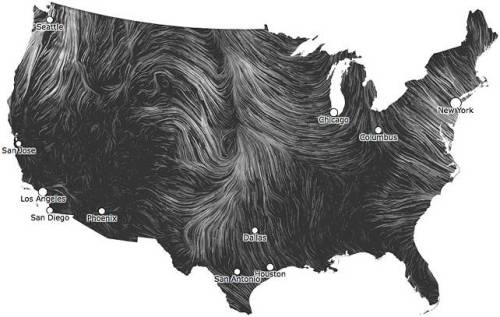anthropologie:  The Wind Map is an art project that uses real-time weather data to visualize wind patterns across the United States. The end result combines all of these gusts and breezes into something reminiscent of Van Gogh's brushstrokes.