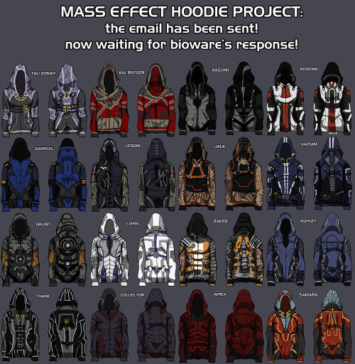 Bioware, make this happen. You owe us! Mass Effect Hoodie Project Proposal by Christine Schott  Artist Christine Schott wanted Mass Effect hoodies, so instead of waiting around she's drawn up the designs and sent a proposal to Bioware. And now we wait.  (via theawkwardgamer)