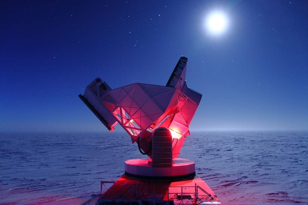 "cozydark:  South Pole Telescope Homes in On Dark Energy, Neutrinos | Analysis of data from the 10-meter South Pole Telescope is providing new support for the most widely accepted explanation of dark energy — the source of the mysterious force that is responsible for the accelerating expansion of the universe. The results also are beginning to hone in on the masses of neutrinos, the most abundant particles in the universe, which until recently were thought to be without mass. The data strongly support the leading model for dark energy, Albert Einstein's cosmological constant — a slight modification to his theory of general relativity — even though the analysis was based on only a fraction of the SPT data collected and only 100 of the more than 500 galaxy clusters detected so far. ""With the full SPT data set, we will be able to place extremely tight constraints on dark energy and possibly determine the mass of the neutrinos,"" said Bradford Benson, a postdoctoral scientist at the University of Chicago's Kavli Institute for Cosmological Physics. continue reading"