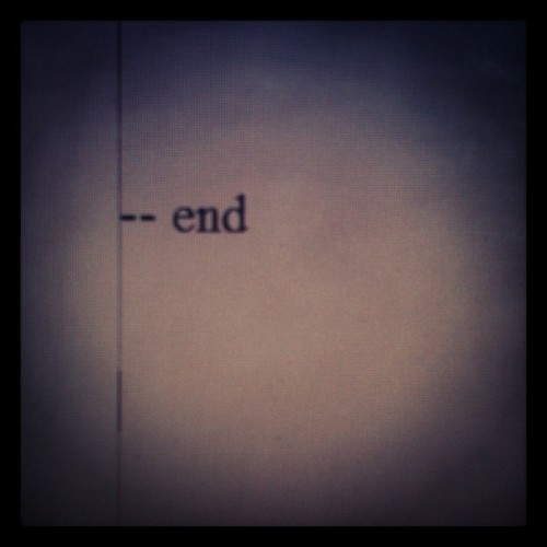 warrenellis:  Taken 2 Dec 2011.  The end of GUN MACHINE.  It will be released some 13 months after that date.  The writing and publishing of a novel is like a two-year-long tease and denial session.  By the end of it you're just hoping that it will be worth the wait and that you'll pass out for a week immediately afterwards.  As someone who's read it, it's worth it. Don't pay any attention to the crazy old man, just look forward to 2013
