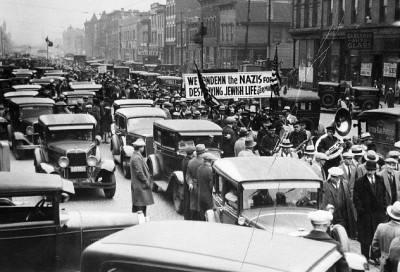 Anti-Nazi Germany protest march, on or around Maxwell St., c.1933, Chicago.