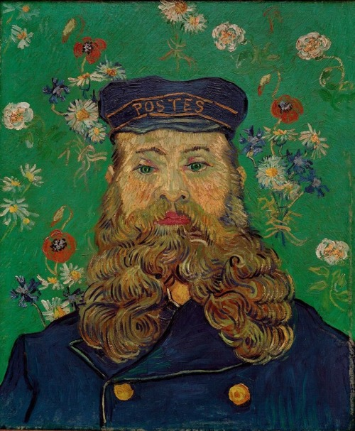 "Painted during van Gogh's stay with the la famille Roulin in Arles, France. ""… I have made portraits of a whole family, that of the postman whose head I had done previously—the man, his wife, the baby, the little boy, and the son of sixteen, all characters and very French, though the first has the look of a Russian."" (Vincent van Gogh, from a letter to his brother Theo, c. December 4, 1888)Otterlo, Kröller-Müller Museum.  necspenecmetu:  Vincent Willem van Gogh, The Postman Roulin, 1889"
