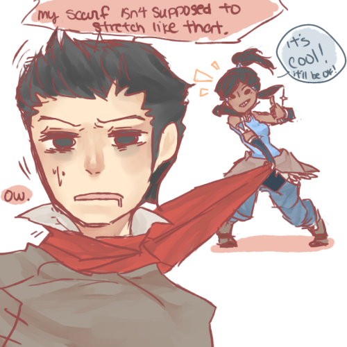 I saw a lot of lovely Makorra pictures with them entwined in mako's scarf so I thought I'd give it a try Am I doing it right ok ok off to work I swear.