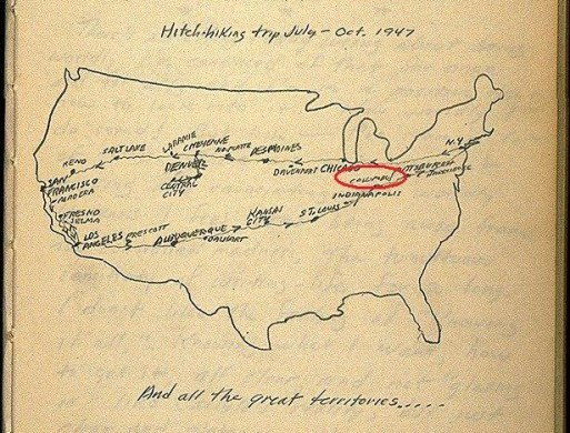 biscodeja-vu:  Jack Kerouac's hitchiking map for summer of 1947. This will hopefully be a big part of my life this summer…