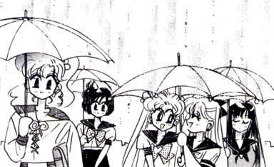 "idesofnovember:  iwillpunishyou:  Guys, they're sharing an umbrella!! Usagi & Minako<3  Look at Rei's face.  That's someone who was asked to share an umbrella and said ""Nope. You forgot it, your problem!""  So who forgot their umbrella? Usagi or Minako?  They both did. Ami had the foresight to bring two (her dowsing powers probably helped her realise there was going to be rain)."