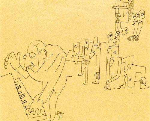 icancauseaconstellation:  The Rite of Spring (cartoon of Igor Stravinsky), by Jean Cocteau, 1913