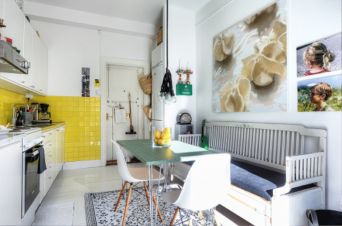 Source: My Scandinavian Home Cosy kitchen. Colour layered on white.