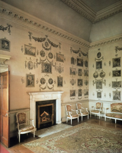 a-l-ancien-regime:  A fascinating room, although odd by today's standards, is the Print Room in Castletown House which was decorated by Lady Louisa Conolly and friends, following the fashion of the 1760s, with cut-outs of favourite images. Castletown House, Celbridge, County Kildare, Ireland's is a Palladian country house built in 1722 for  the Conolly family; it was designed by Italian architect Alessandro Galilei .  The house  interior decoration was finished by Lady Louisa (great-granddaughter of Charles II of England and Louise de Keroualle) during the 1760s and 1770s.