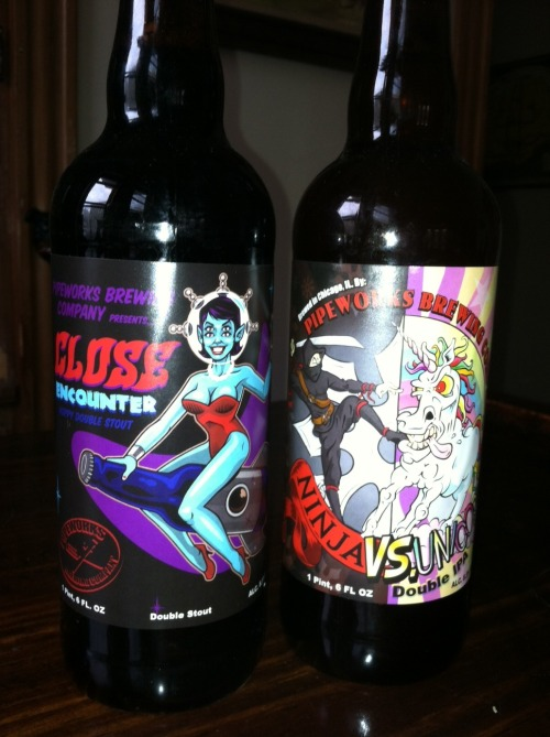 The beer on the left was designed by me and brewed by Pipeworks! The beer on the right wasn't. But it's still awesome! Follow Harebrained on Facebook!