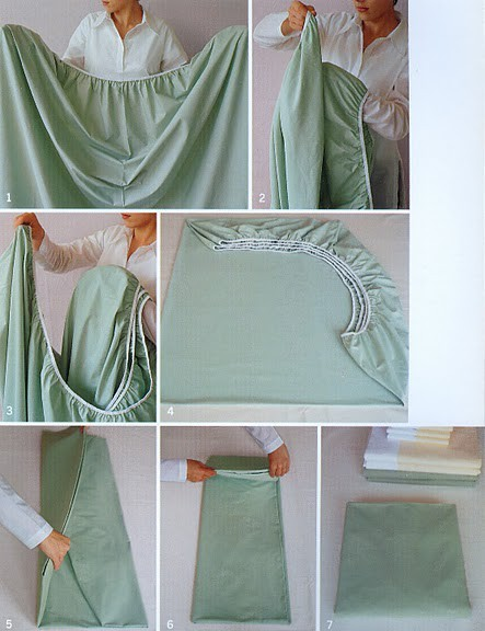 How to fold a fitted sheet. Could come in handy. Saw this here.