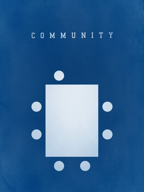 "Remember this poster? My ""Community"" poster was made nearly a year ago and now it's finally available for sale. If you're (still) interested, go check it out. T-shirts are also available!"