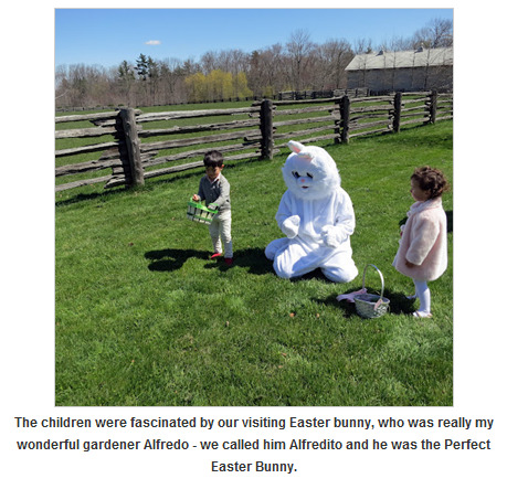 hman:  As part of her elaborate Easter celebration this year, Martha Stewart gave her gardener a funny name and made him wear a funny costume. Isn't that delightful?!
