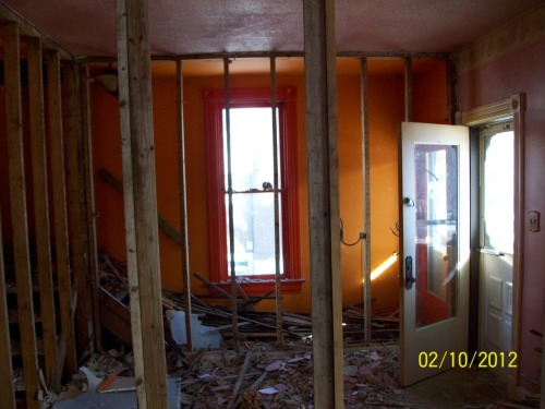 Inside of the House | Living Room. The beginning days of demolition.