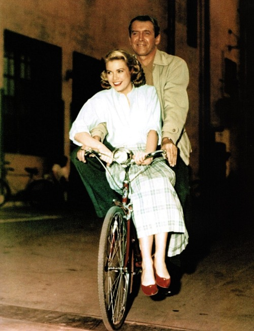 oldhollywood:  Jimmy Stewart and Grace Kelly on the set of Rear Window (1954, dir. Alfred Hitchcock) (via)