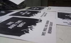 We are the 99% 2011 Screen-printed on A3 (420 x 297 mm) This is a collaborative project between myself and Matthew Maunder, looking at the 99% issues in the USA.