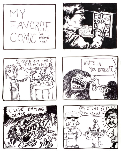 Didn't get to participate in Champoy Hate's Comix Jam at Home Room this past February? Well now you can live vicariously because they are all up on Tumblr! Each six panel page was empty at the start of the evening and got filled with comix craziness throughout the night. This panel was started by Michael Nhat and filled in by god knows who else. Check em out! comixjamla:      fromLA Zine Week Comix Jam  February 11, 2012Home Room