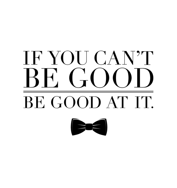 dailydesigners:  'If you can't be good, be good at it' This is something my dad use to say to me when I lived at home. He would say it whenever I was going out with my friends. He was quite the bad boy when he was younger and assumed I was the same way. It always made me laugh. When trying to consider what kind of aesthetic I wanted to work with for this phrase, the obvious came to mind: liberation, loud, guns, photo of a hot chick with red lipstick, drugs, sex, etc. Then, I realized none of these things is what my dad meant when he said it. Not directly anyway. So the way I began to build upon this was to take the 'nothing is wrong until you get caught' route. High class badass. -Lyndsay