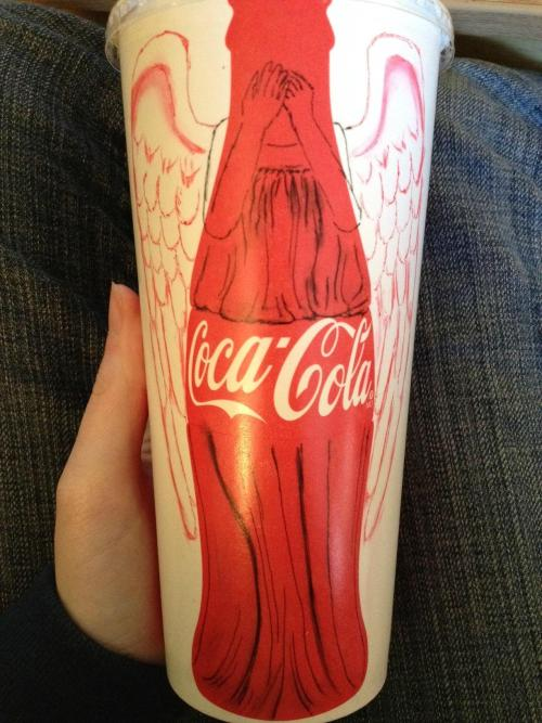 Someone had fun with a Coke bottle.