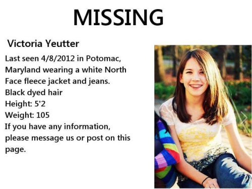 yall2:  Please reblog this to help this young girl be found and hopefully brought home safely http://facebook.com/HaveYouSeenVictoriaYeutter?