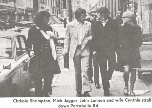 Portobello Road May 21, 1966 - After an all night party Chrissie Shrimpton and Mick Jagger joined John & Cynthia Lennon on an early morning stroll down London's trendy Portobello Road. Photo was published in DISC and Music Echo, July 16, 1966 issue / also in Melody Maker's June 18, 1966 issue. Scan from the Cynthia Powell Lennon group at Yahoo!