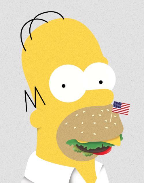 eatsleepdraw:  Homeburger Simpson www.strigiforme.tumblr.com