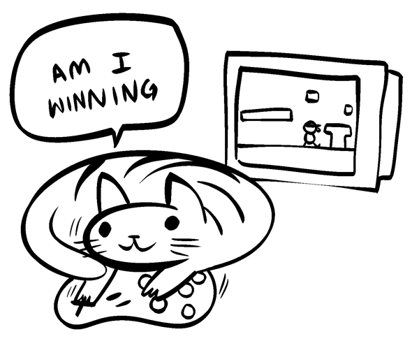 nedroidcomics:  I came up with the best webcomic character, Video Game Cat. It is a cat who plays video games. Everyone will love it