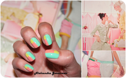 "More colour, please! You'll need: pastel green nail polish 136, Astor; pastel pink nail polish ""flamingo rose"" (15), Essence; yellow nail polish ""mimosa"" (577), Chanel; top coat - quick dry, Essence; small size brush from art shop. xx"