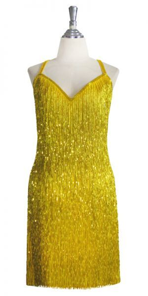 Fully-beaded heavily fringed short cocktail dress in lemon. The dress as shown has a yellow fabric background. If you choose another bead color the base fabric on your dress will match your bead color as closely as possible. Choose your color, top style, size, neckline plunge, skirt length and many other options. This shimmering dress has incredible movement. For any kind of night out—where you want to stand out.