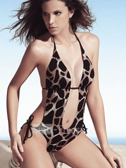 Sexy Leopard Halter Collected Bikini Swimsuit
