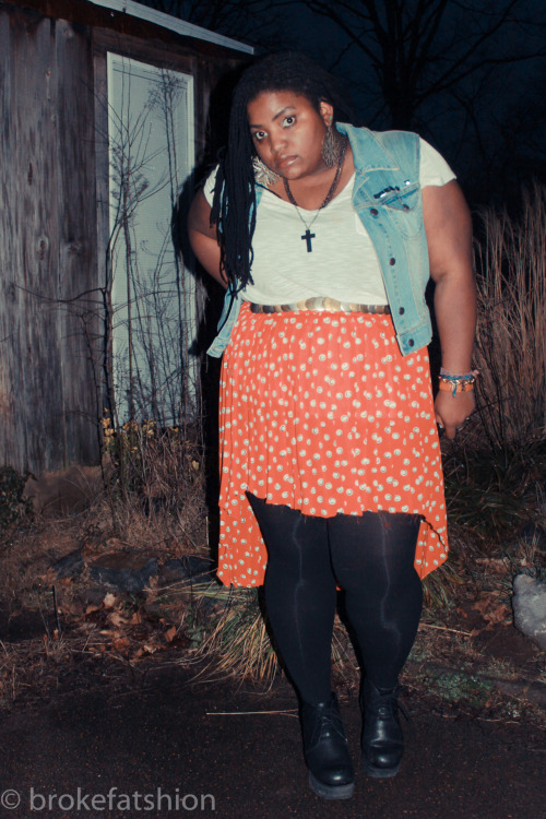 denim & fishtail skirt. i did another d.i.y fishtail skirt that I thrifted [.99] cuz i luv them o so much.