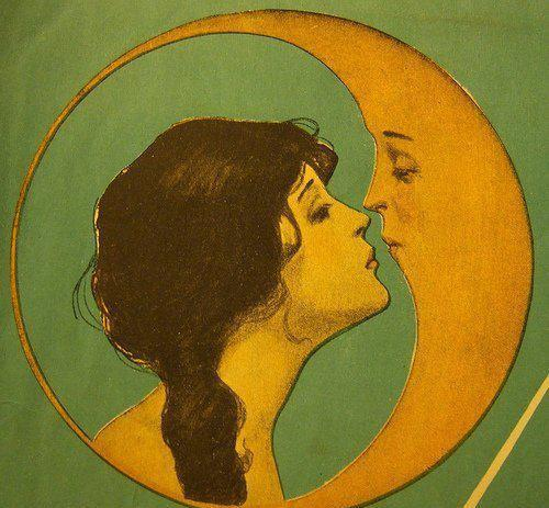 a moon with an woman